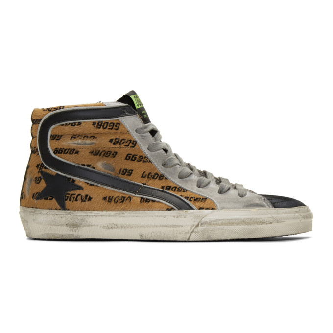 Golden Goose Brown and Black Pony All-Over Slide Sneakers