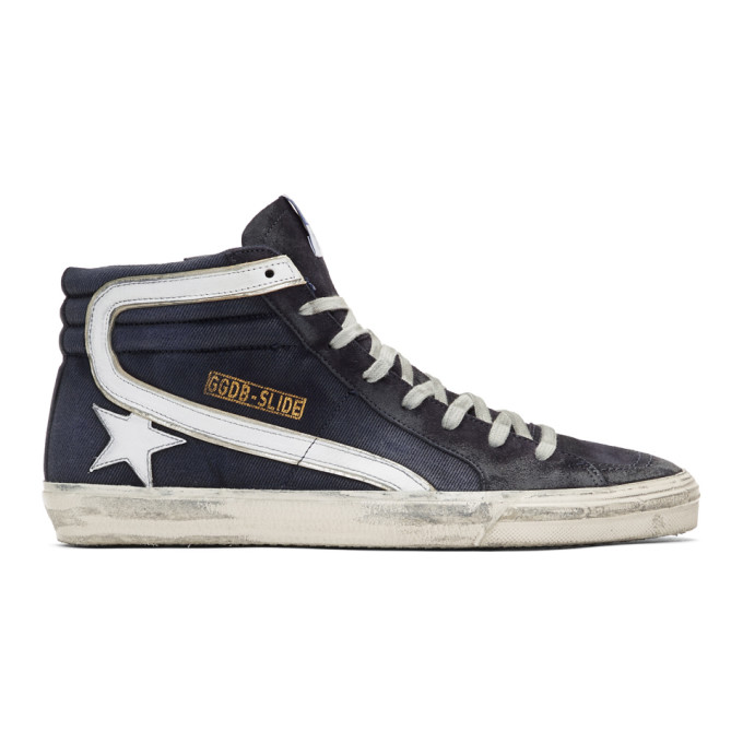 Golden Goose Navy Denim Slide High-Top Sneakers