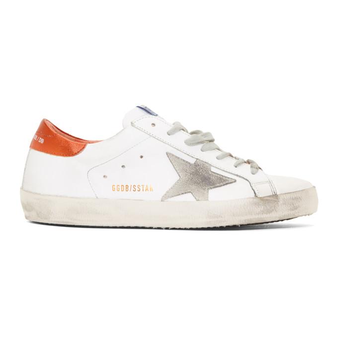 Golden Goose White & Orange Superstar Sneakers