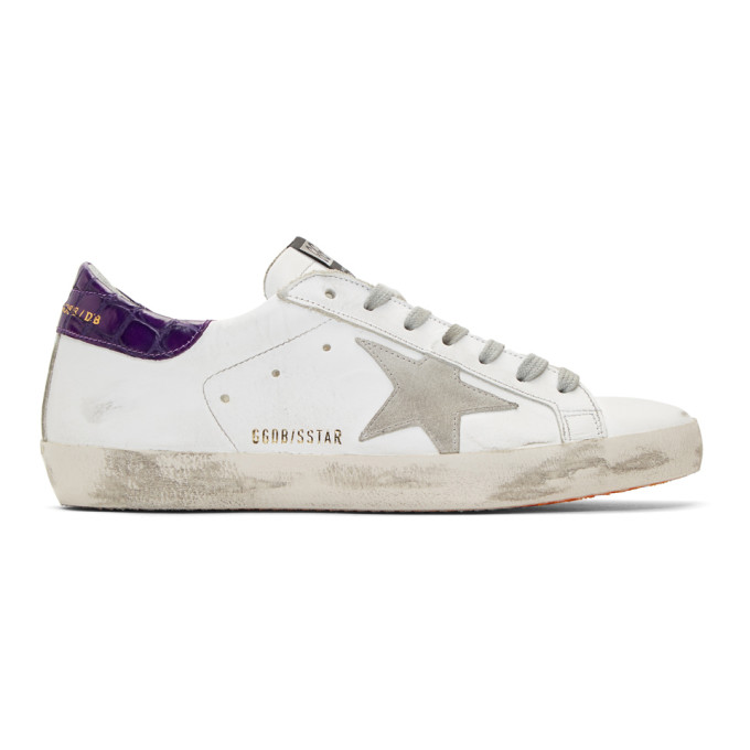 Golden Goose White & Purple Superstar Sneakers