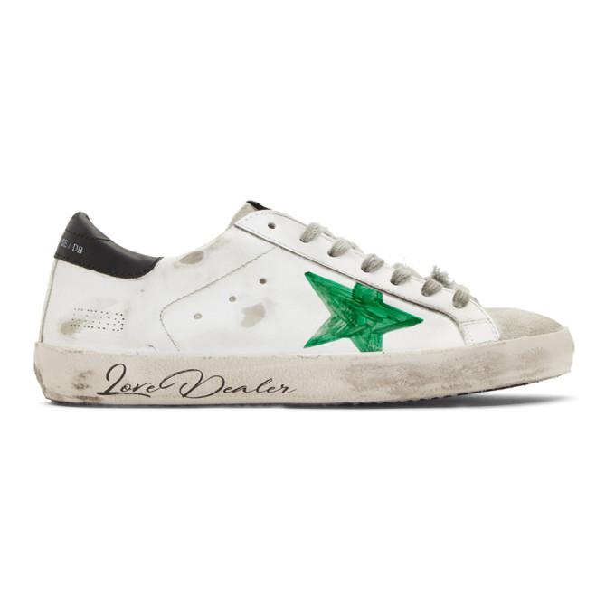 Golden Goose White & Green 'Love Dealer' Superstar Sneakers