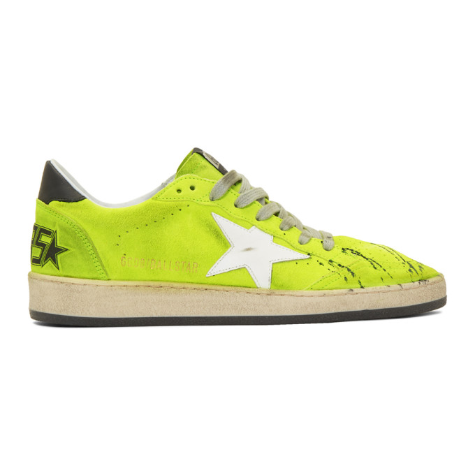Golden Goose Yellow Suede Paint Ball Star Sneakers