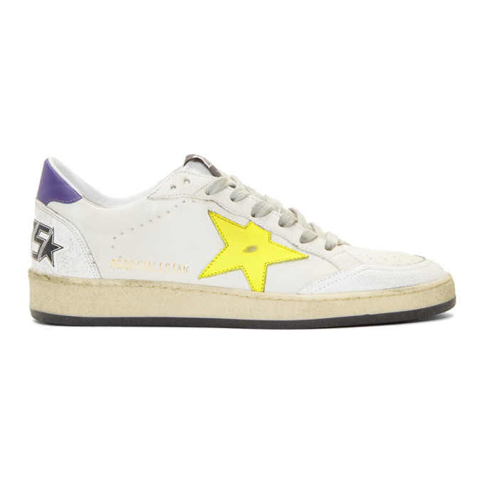 Golden Goose White & Yellow Ball Star Sneakers
