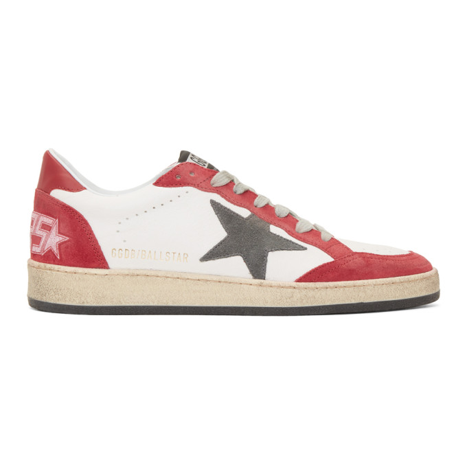 Golden Goose White & Red Ball Star Sneakers