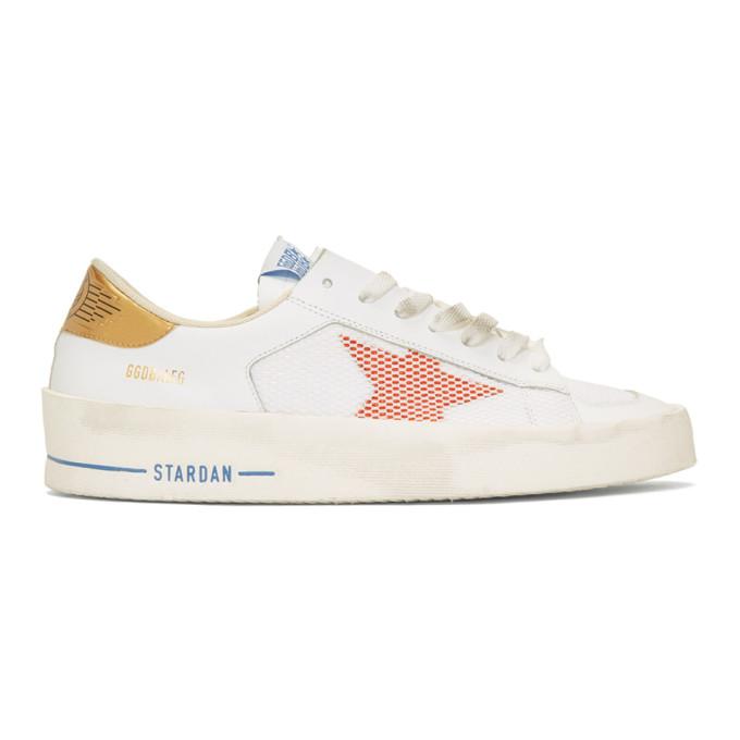 Golden Goose White & Orange Stardan Sneakers