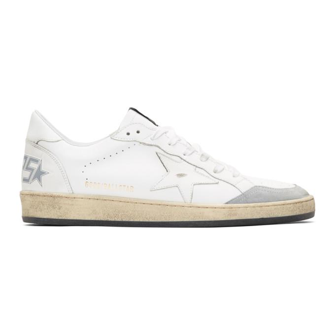 Golden Goose White & Grey Ball Star Sneakers