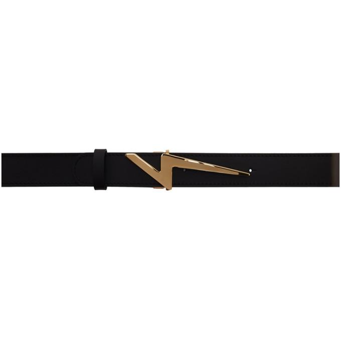7252b74bb9631 Giuseppe Zanotti Black Flash Logo Belt