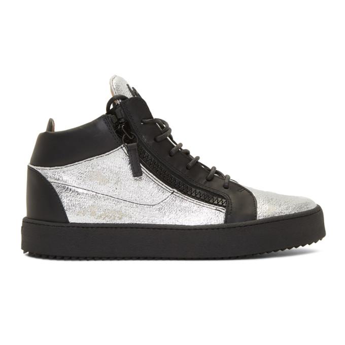 Giuseppe Zanotti Black & Silver Kriss High-Top Sneakers