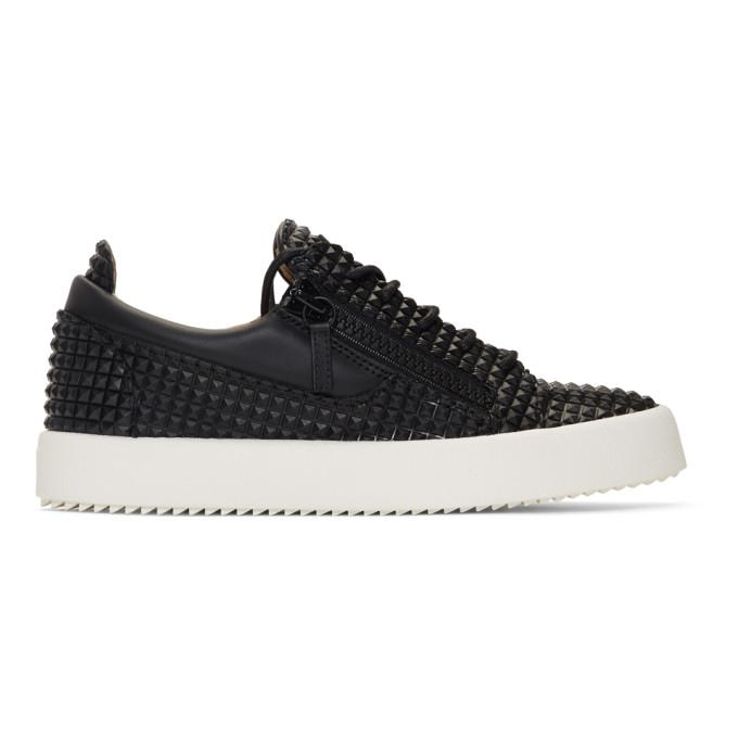 GIUSEPPE ZANOTTI | Giuseppe Zanotti Black Pyramid Stud May London Sneakers | Goxip