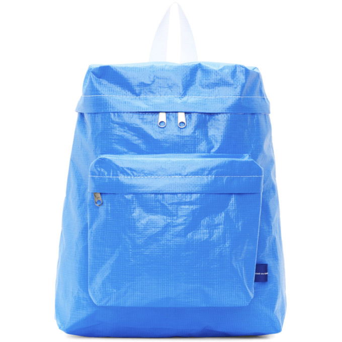 Image of Comme des Garçons Shirt Blue Poly Small Backpack