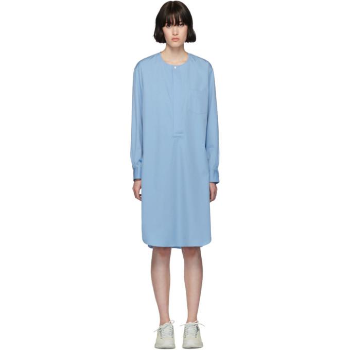 Image of Comme des Garçons Shirt Blue Poplin Long Shirt Dress