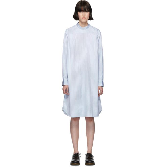 Image of Comme des Garçons Shirt White & Blue Poplin Stripe Shirt Dress
