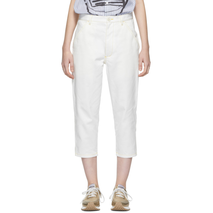 Image of Comme des Garçons Shirt White Contrast Stitch Jeans