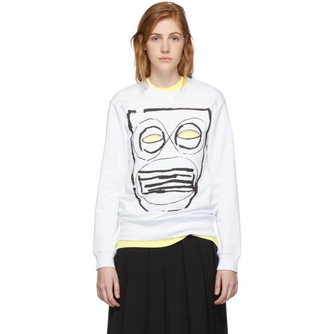 Image of Comme des Garçons Shirt White Mask Print Sweatshirt