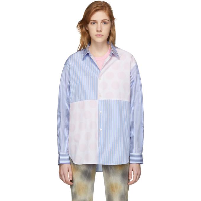 Image of Comme des Garçons Shirt Blue & Pink Polka Dot & Stripe Mix Shirt