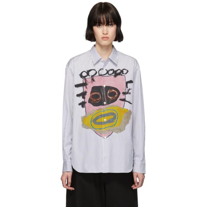 Image of Comme des Garçons Shirt White & Navy Stripe Mask Print Shirt