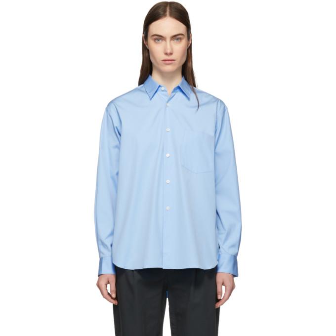 Image of Comme des Garçons Shirt Blue Wide Fit Classic Shirt