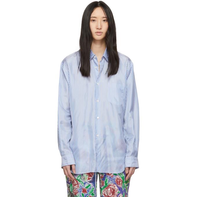 Image of Comme des Garçons Shirt Blue & White Lining Shirt