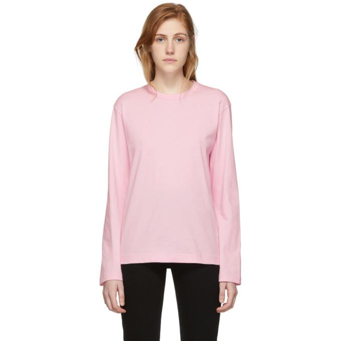 Image of Comme des Garçons Shirt Pink Logo Men's Fit Long Sleeve T-Shirt