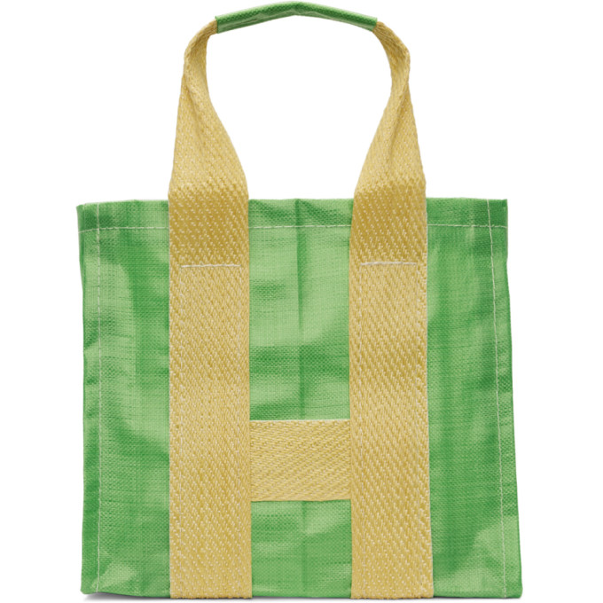 Image of Comme des Garçons Shirt Green & Yellow Large Poly Tote