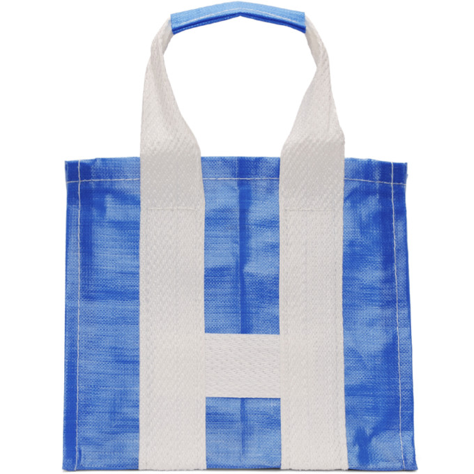 Image of Comme des Garçons Shirt Blue & White Large Poly Tote