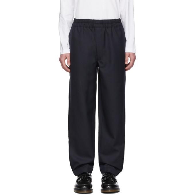 Image of Comme des Garçons Shirt Navy Gabardine Trousers