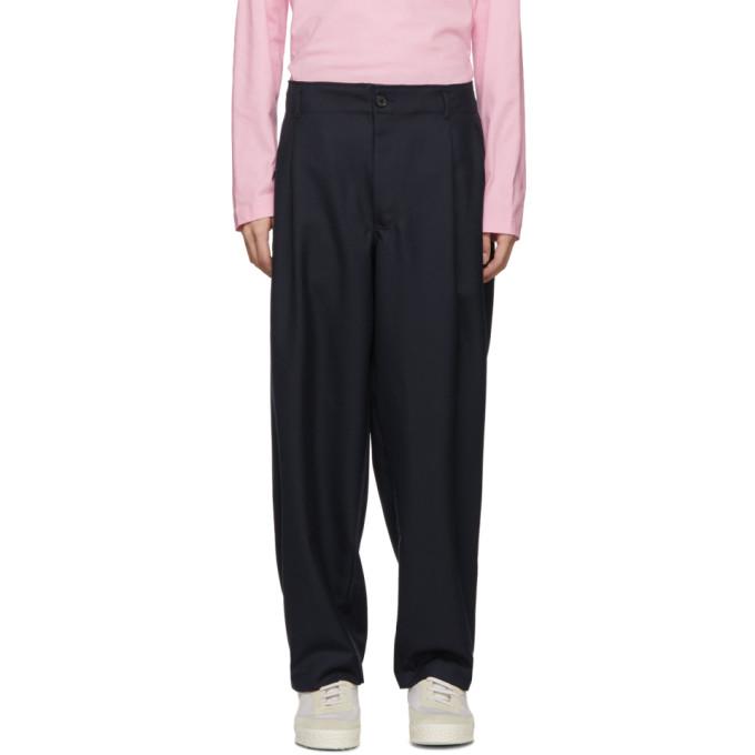Image of Comme des Garçons Shirt Navy Wool Gabardine Trousers