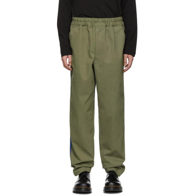 Image of Comme des Garçons Shirt Khaki Serge Side Stripes Trousers