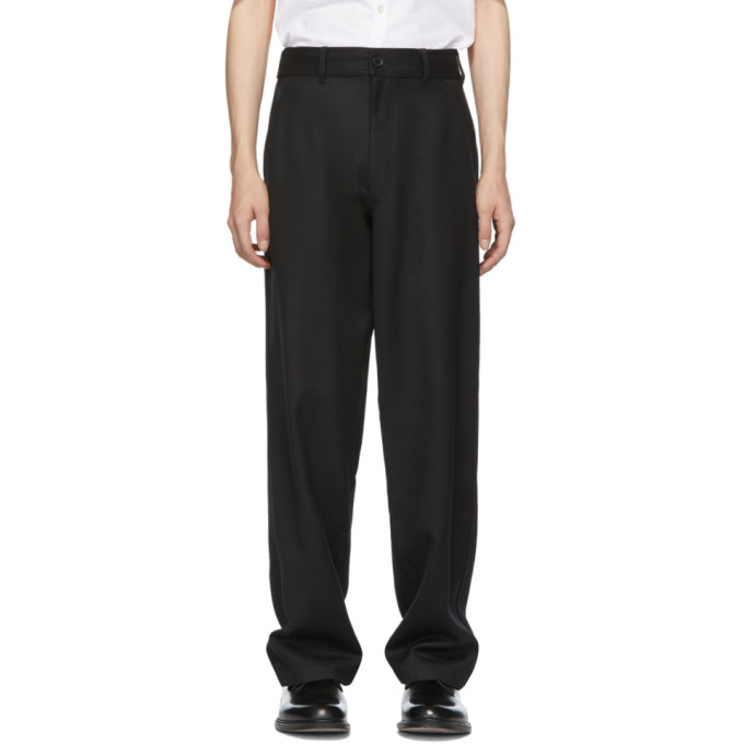 Image of Comme des Garçons Shirt Black Carded Wool Gabardine Trousers