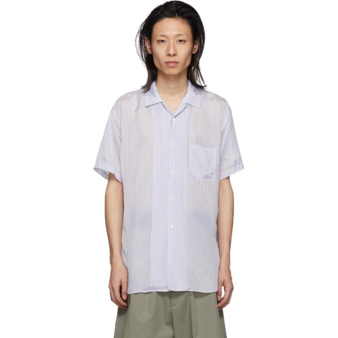 Image of Comme des Garçons Shirt White & Blue Cupro Striped Shirt