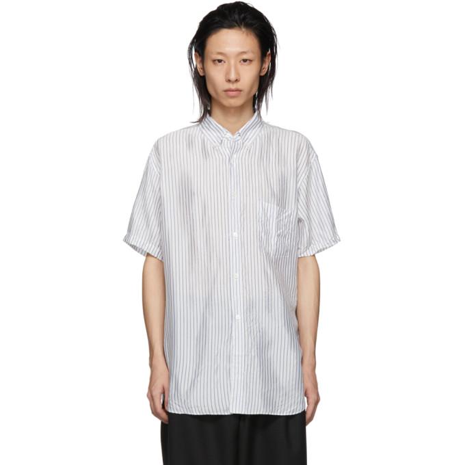 Image of Comme des Garçons Shirt White & Blue Cupro Striped Button-Down Shirt