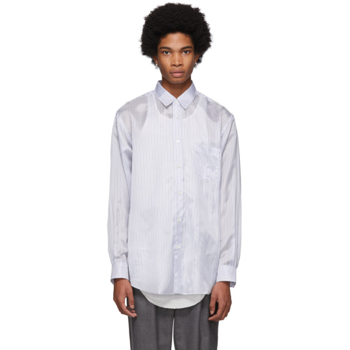 Image of Comme des Garçons Shirt White & Blue Striped Lining Forever Shirt