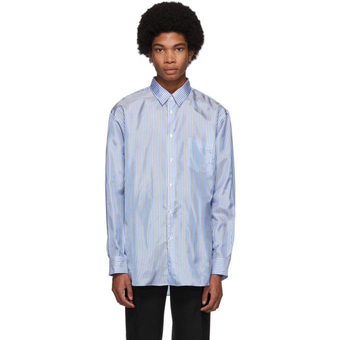 Image of Comme des Garçons Shirt Blue & White Forever Lining Shirt