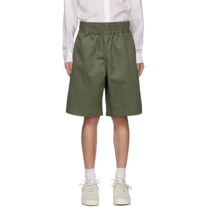 Image of Comme des Garçons Shirt Green Cotton Gabardine Shorts