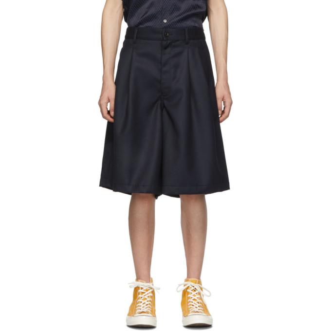 Image of Comme des Garçons Shirt Navy Carded Wool Gabardine Shorts