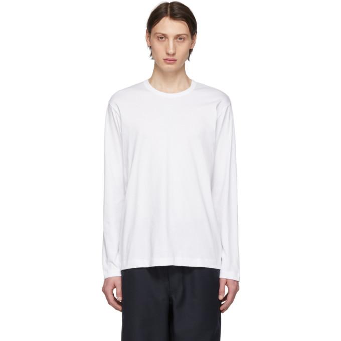 Image of Comme des Garçons Shirt White Logo Long Sleeve T-Shirt