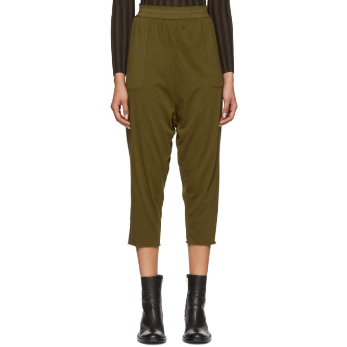 RAQUEL ALLEGRA Raquel Allegra Green Sueded Baby Jersey Lounge Pants in Army