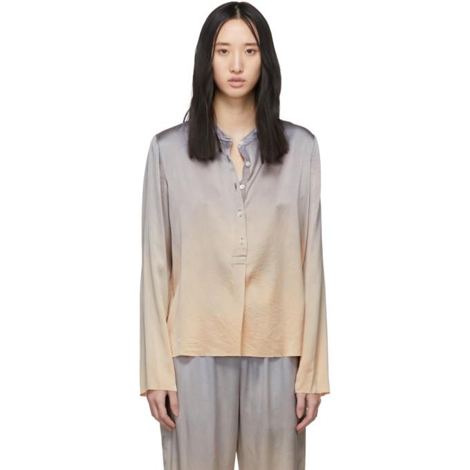 Raquel Allegra Chemise en soie a motif tie-dye argentee