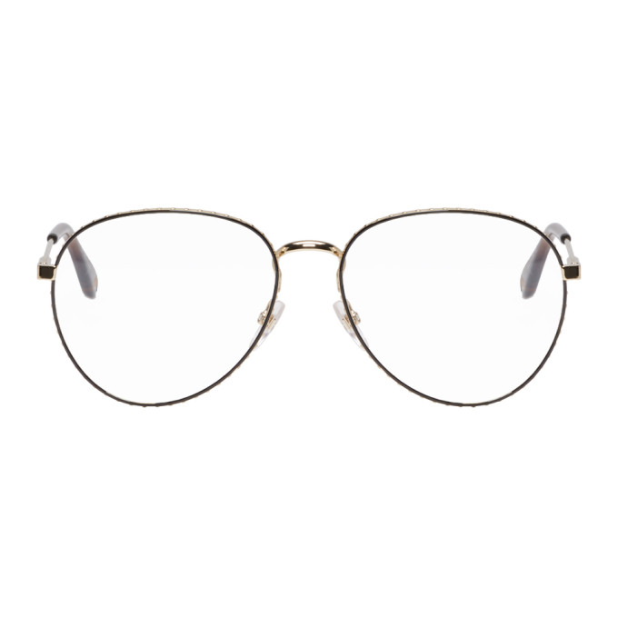 GIVENCHY | Givenchy Gold And Brown Studded Edge Glasses | Goxip
