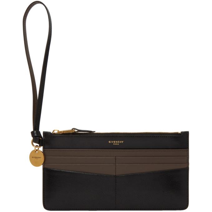 Givenchy Black & Grey GV3 Card Case Zipped Pouch