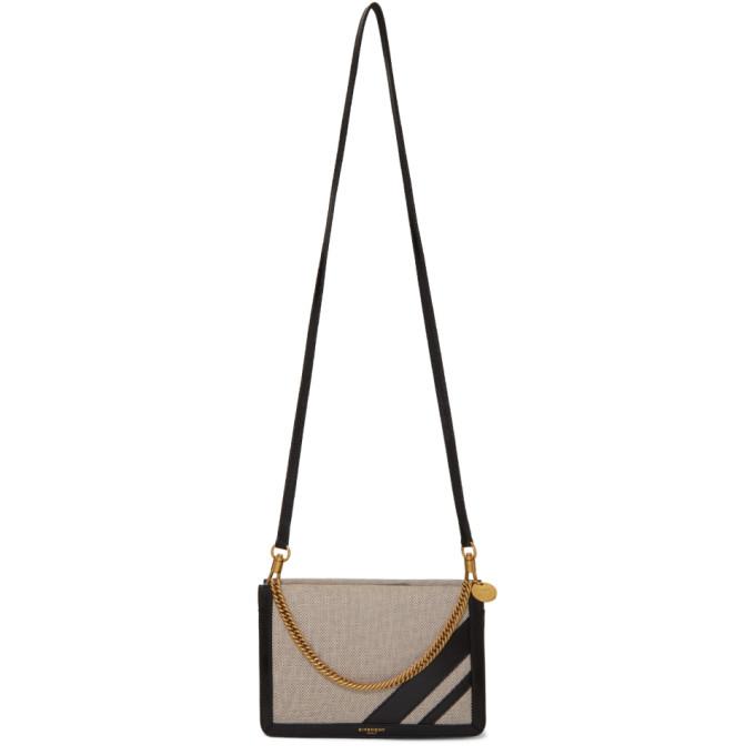 Givenchy Black Canvas Striped Cross 3 Bag