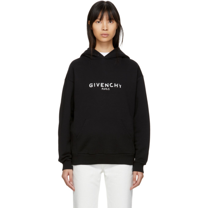 Givenchy Logo Distressed Cotton Terry Hoodie - Black Size Xs