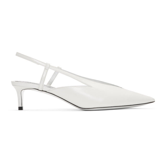 Givenchy Metallic Glossed Leather Slingback Pumps In White