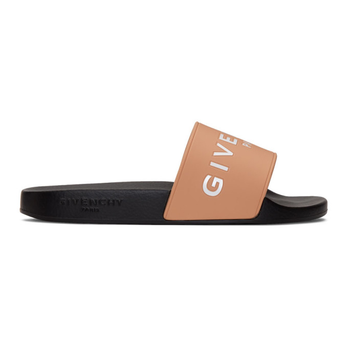 58f5dd0ce045 Givenchy Logo Rubber Slide Sandals In Neutrals