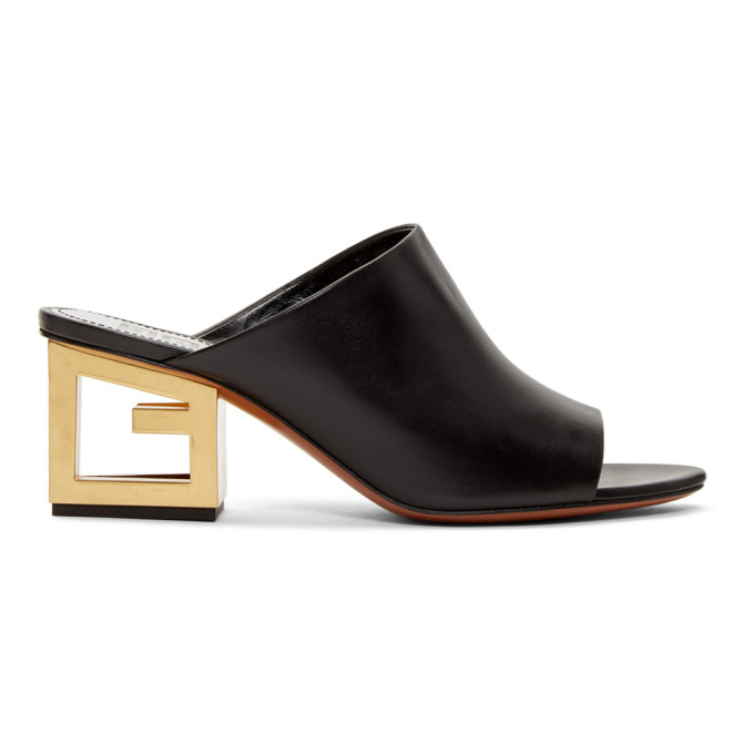 Givenchy Black Triangle Mule Sandals