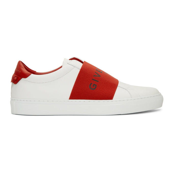 Givenchy White & Red Strap Urban Knots Sneakers