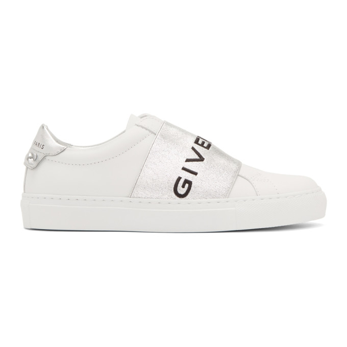 Givenchy White & Silver Elastic Urban Knots Sneakers In 040 Silver