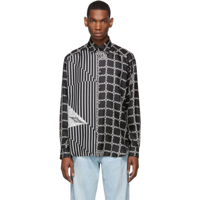 Givenchy Chemise graphique en soie noire et blanche Loose Fit