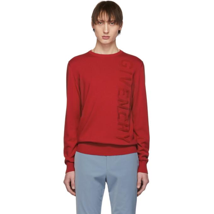 Givenchy レッド バーティカル ロゴ セーター