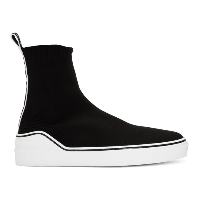 Givenchy Grosgrain-Trimmed Stretch-Knit High-Top Sneakers - Black In 001 Black